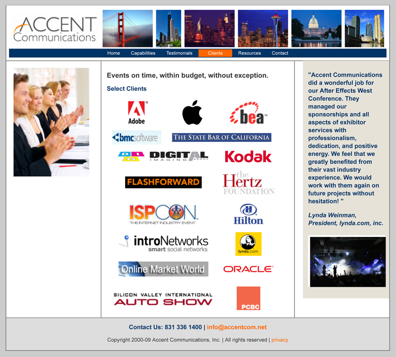 Accent Communications clients. Conference management, event mark