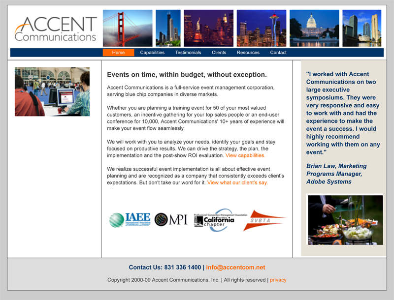 Accent Communications contact. Conference management, event mark
